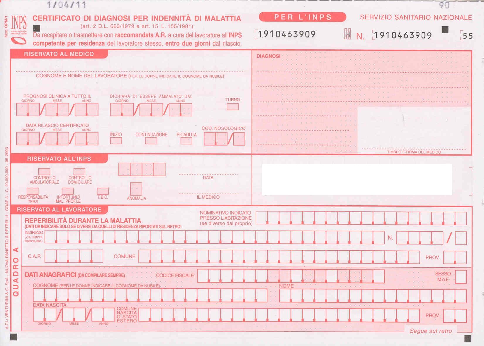 certificato medico inps datore di lavoro