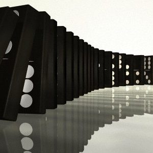 Illustration of Row of Falling Dominoes, Digitally Generated Image